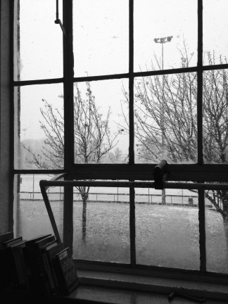 Snow. From my classroom window